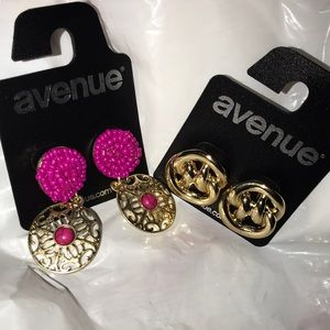 2 pair of brand new fashion earrings - pink & gold